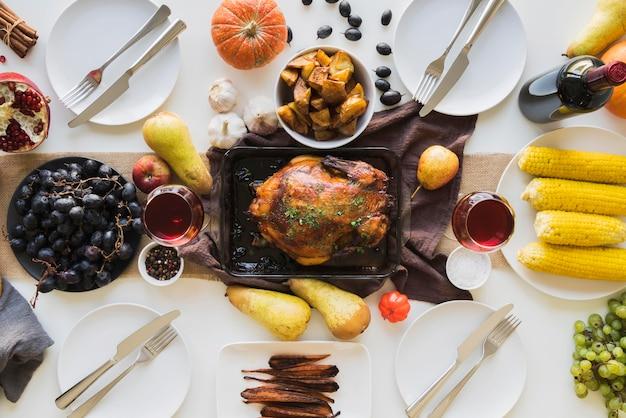 Pyszny Posiłek Dziękczynienia Widok Z Góry Premium Zdjęcia