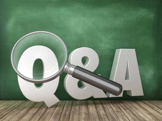 Pytania I Odpowiedzi Słowo 3d Z Lupą Na Tablicy Szkolnej Premium Zdjęcia