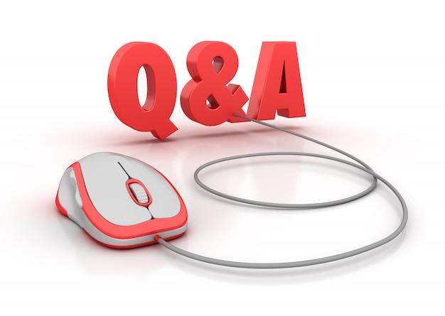 Pytania I Odpowiedzi Słowo 3d Z Myszą Komputerową Premium Zdjęcia