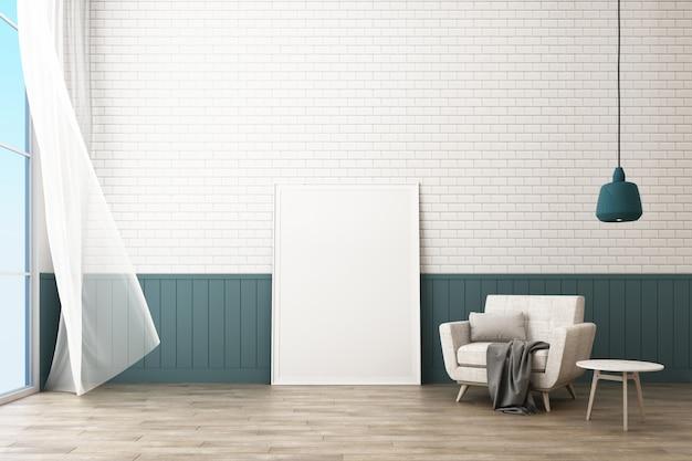Rama plakatowa z dekoracją ściany z cegły i fotel renderowania 3d w stylu skandynawskim Premium Zdjęcia