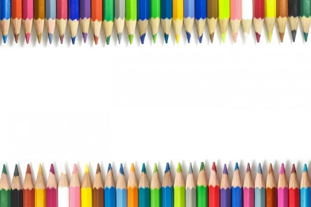 Rama z kolorowych ołówków Premium Zdjęcia