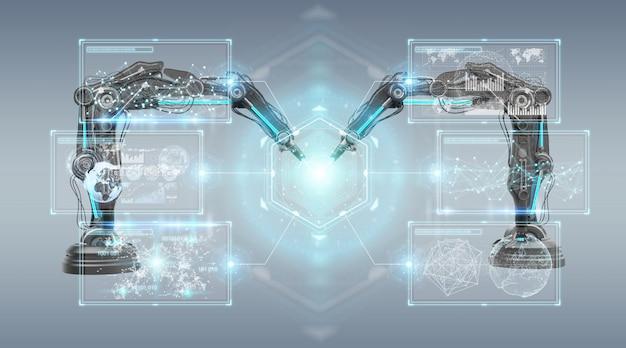 Ramiona robotyki z renderowaniem 3d na ekranie cyfrowym Premium Zdjęcia