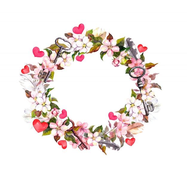Ramka Wieniec Kwiatowy - Różowe Kwiaty, Pióra Boho, Serca I Zabytkowe Klucze. Akwarela Na Walentynki, Wesele Premium Zdjęcia