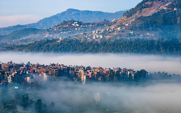 Rano Widok Wsi Khokana, Katmandu, Nepal. Premium Zdjęcia