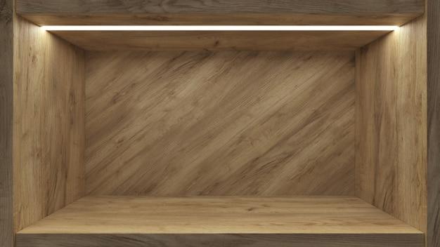 Realistyczna pusta półka dla promocyjnego projekta tła. stoisko wystawowe puste Premium Zdjęcia