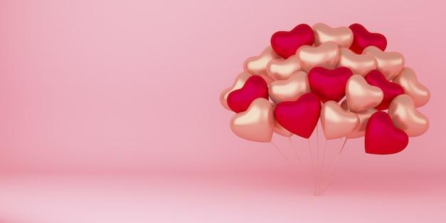 Realistyczne Szczęśliwe Walentynki Tło Z Dekoracjami Balonów W Kształcie Serca Premium Zdjęcia
