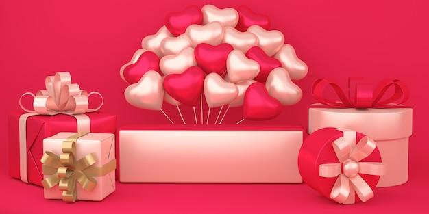 Realistyczne Szczęśliwe Walentynki Tło Z Pudełkami Na Prezenty I Dekoracjami Balonów W Kształcie Serca Premium Zdjęcia
