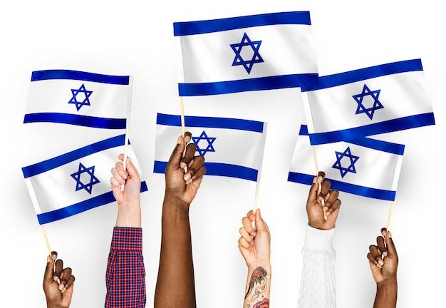 Ręce Macha Flagami Izraela Darmowe Zdjęcia