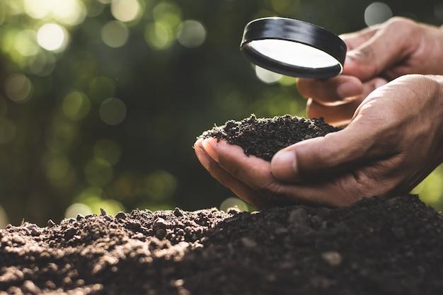Ręce Rolników Wybierają Najlepszą Glebę Do Sadzenia. Premium Zdjęcia