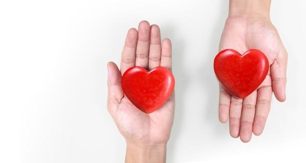 Ręce Trzyma Czerwone Serce, Zdrowie Serca I Darowizny Pojęcia Premium Zdjęcia