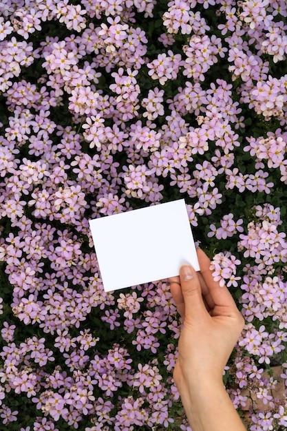 Ręce trzyma pionowe karty z kwiatami Premium Zdjęcia