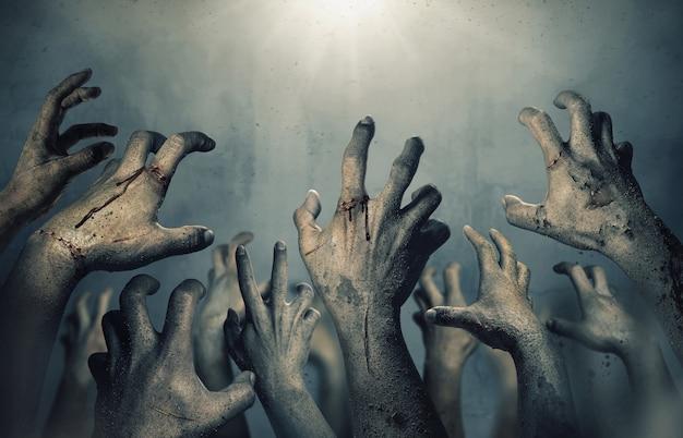 Ręce Zombie Rosnące W Ciemną Noc Halloween. Premium Zdjęcia