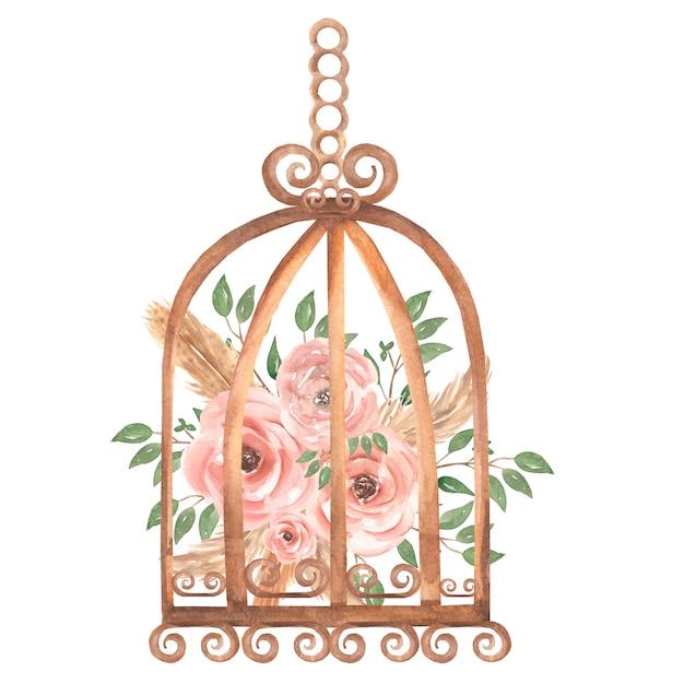 Ręcznie Malowane Akwarela Zardzewiały Rocznika Klatka Dla Ptaków Z Brudnych Różowych Kwiatów Róż I Gałęzi Zielonych Liści. Ilustracja W Stylu Prowansji. Premium Zdjęcia