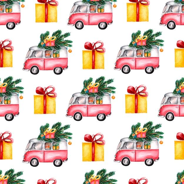 Ręcznie malowany zimowy wzór samochodów dostawczych i prezentów Premium Zdjęcia