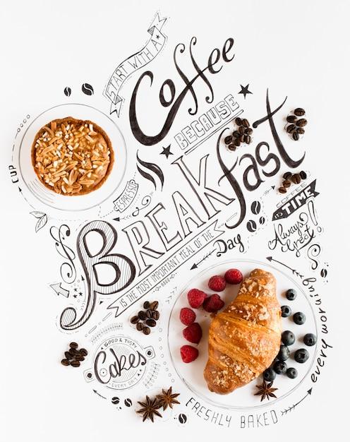 Ręcznie Rysowane śniadanie Napis Typografia Premium Zdjęcia