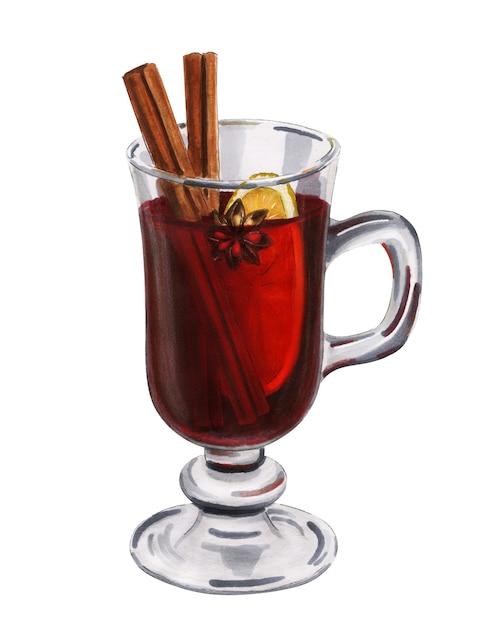 Ręcznie Rysowane Szkło Z Grzanym Winem Na Białym Tle. Ilustracja Domowy Napój świąteczny Premium Zdjęcia