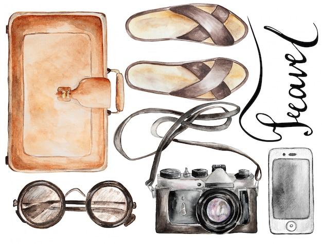 Ręcznie Rysowane Zestaw Podróży Akwarela. Premium Zdjęcia