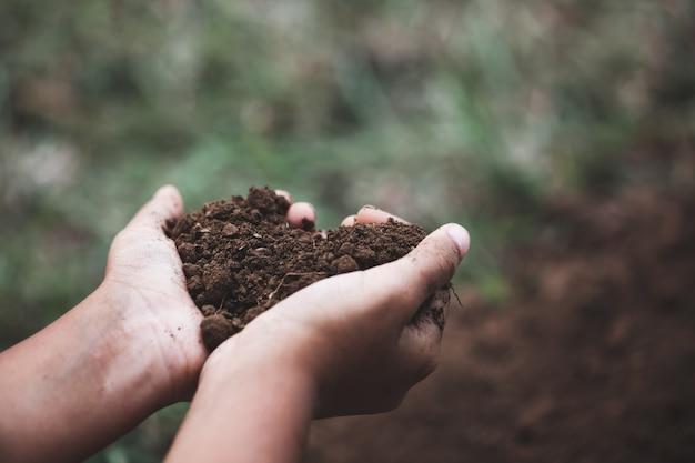 Ręka dziecka trzymającego ziemię w kształcie serca przygotowuje się do sadzenia drzewa Premium Zdjęcia