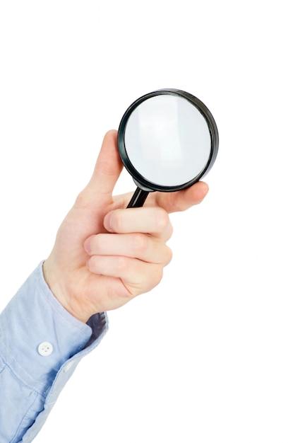 Ręka Mężczyzny Trzyma Szkło Powiększające Premium Zdjęcia
