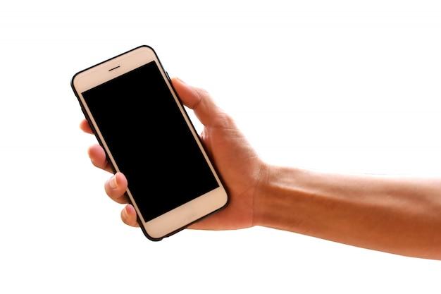 Ręka trzyma inteligentny telefon komórkowy lub telefon Premium Zdjęcia