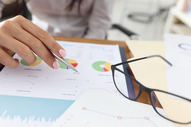 Ręka Trzyma Pióro Do Komercyjnych Wykresów Obok Okularów Leży Premium Zdjęcia