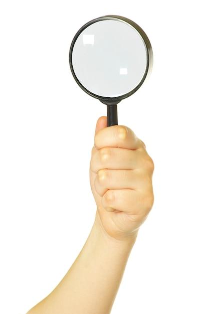 Ręka Trzyma Szkło Powiększające Premium Zdjęcia
