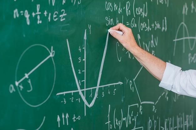 Ręka uprawy wykres kredowania człowieka na tablicy Darmowe Zdjęcia
