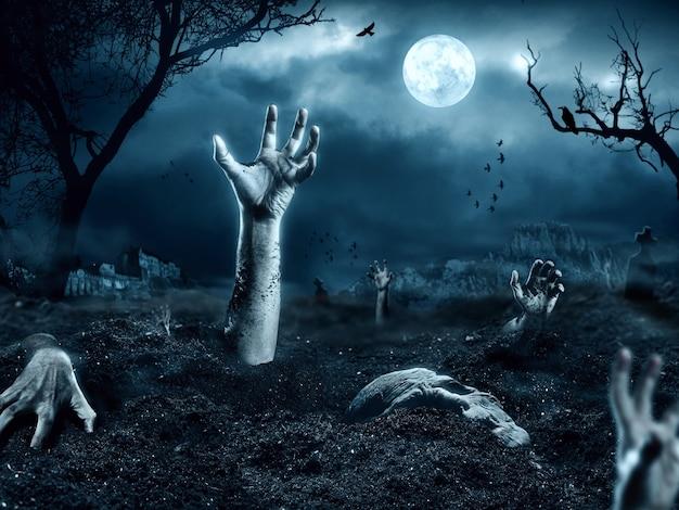 Ręka Zombie Wychodząca Z Jego Grobu Premium Zdjęcia