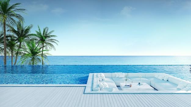 Relaksująca letnia plaża, taras do opalania i prywatny basen Premium Zdjęcia