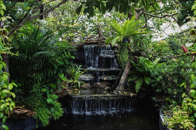 Relaksujący Zakątek Wodospadu W Ogrodzie Do Dekoracji Domu Na świeżym Powietrzu W Stylu Zen Premium Zdjęcia