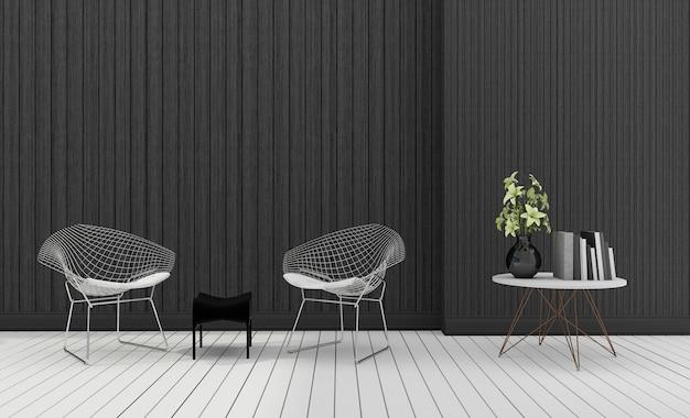 Renderingu 3d ciemny nowoczesny nowoczesny fotel z roślin Premium Zdjęcia