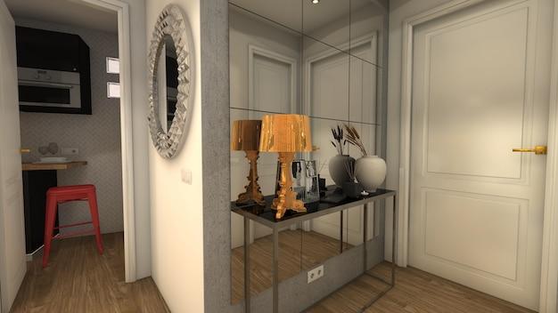 Renderingu 3d Elegancka I Luksusowa Sala Premium Zdjęcia