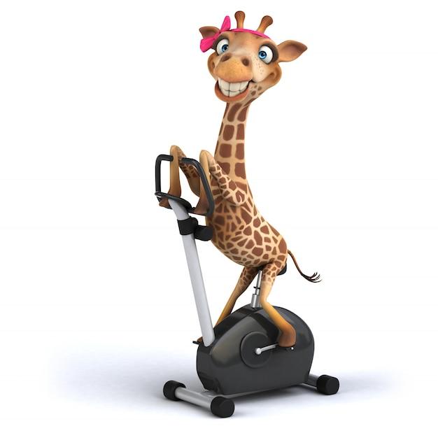 Renderingu 3d śmieszna żyrafa Premium Zdjęcia