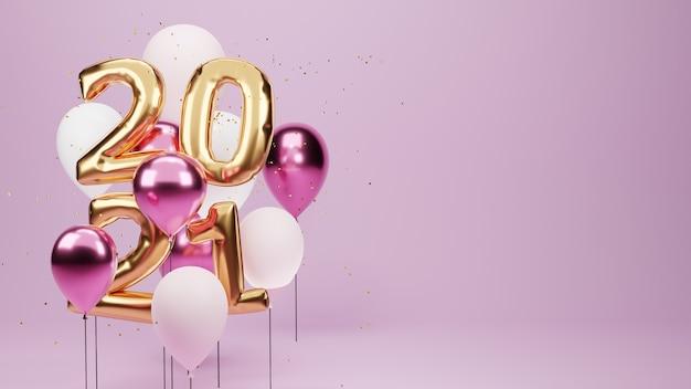 Renderowane W 3d. Złote Balony 2021 I Złote Drobinki. Znak Rocznicy Na Nowy Rok. Premium Zdjęcia