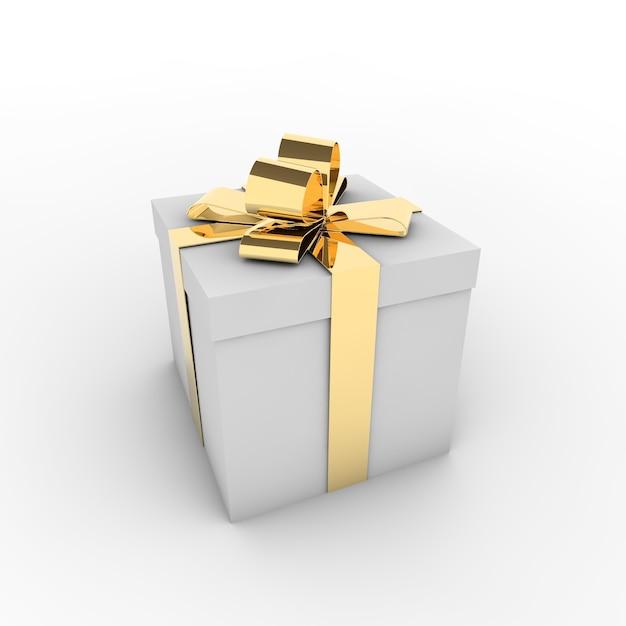 Renderowania 3d Białe Pudełko Ze Złotą Wstążką Na Białym Tle Na Białym Tle Darmowe Zdjęcia