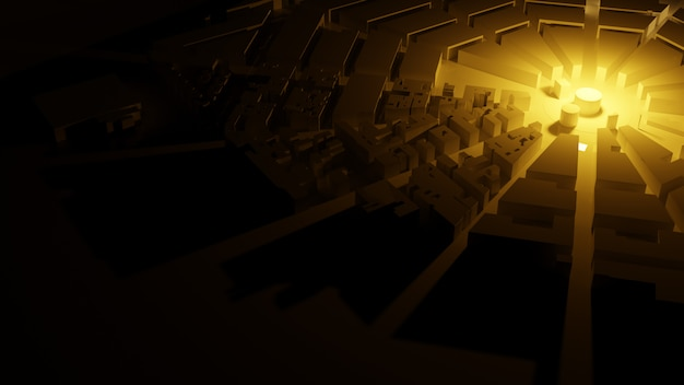Renderowania 3d Białe Tło Widoki Miasta Low Poly Premium Zdjęcia