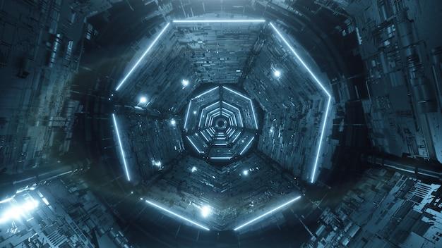 Renderowania 3d Cyfrowy Futurystyczny Tunel Neon Streszczenie Premium Zdjęcia