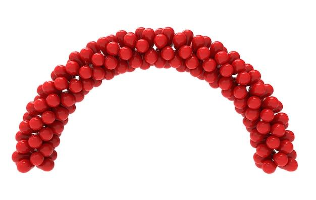Renderowania 3d. czerwone balony krzywa brama ze ścieżką przycinającą na białym tle. Premium Zdjęcia