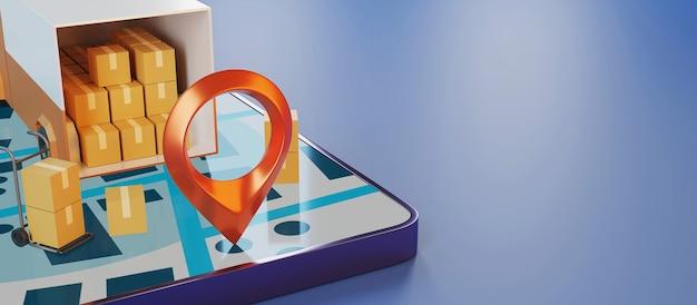 Renderowania 3d Inteligentny Telefon I Ciężarówka Dostawy. Premium Zdjęcia