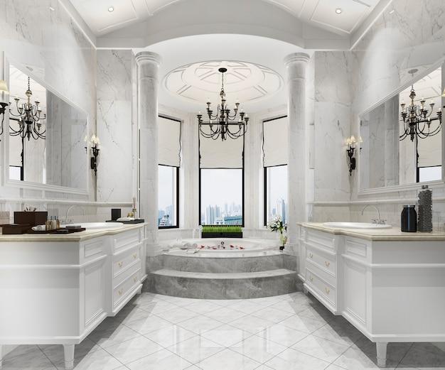 Renderowania 3d Klasyczna Nowoczesna łazienka Z Luksusowym Wystrojem Płytek Premium Zdjęcia