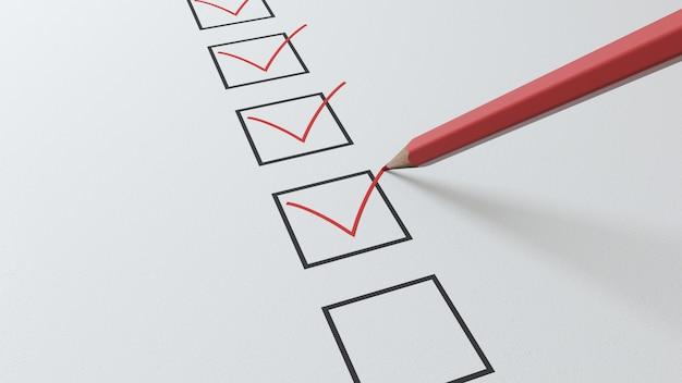 Renderowania 3d Listy Kontrolnej Czerwony Ołówek Będzie Zaznaczał Czarne Kwadraty Premium Zdjęcia