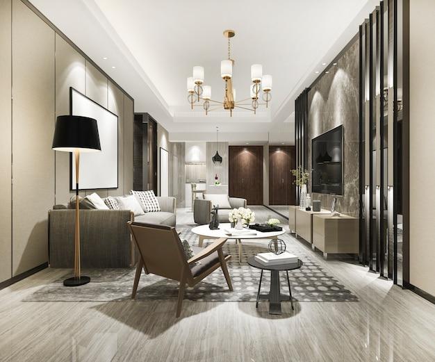Renderowania 3d Luksusowy I Nowoczesny Salon Z Sofą I Stołem Jadalnym Premium Zdjęcia