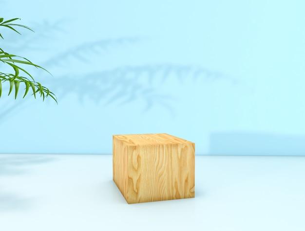 Renderowania 3d. naturalne piękno tła na wyświetlaczu produktu kosmetycznego. tło uroda moda. wyświetlacz pudełka z kostki drewna. Premium Zdjęcia