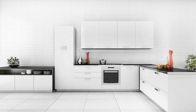 Renderowania 3d nowoczesna kuchnia z dobrym kontuarem projektu Premium Zdjęcia
