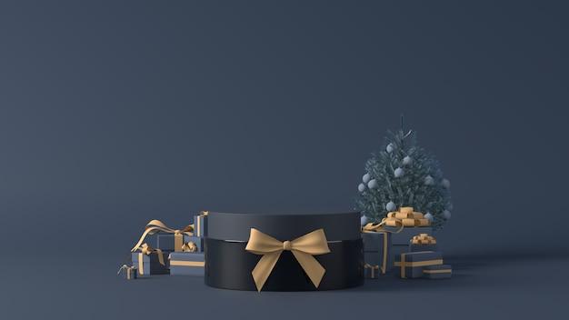Renderowania 3d Podium Z Prezentami świątecznymi Premium Zdjęcia