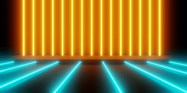 Renderowania 3d Pomarańczowego Niebieskiego świecącego światła Neonowego Abstrakcyjna Premium Zdjęcia