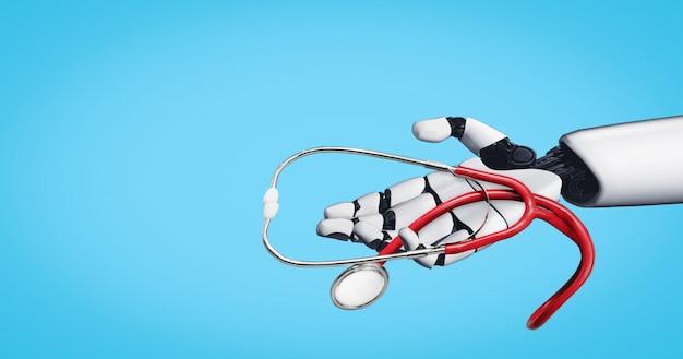 Renderowania 3d Robota Medycznej Sztucznej Inteligencji Premium Zdjęcia