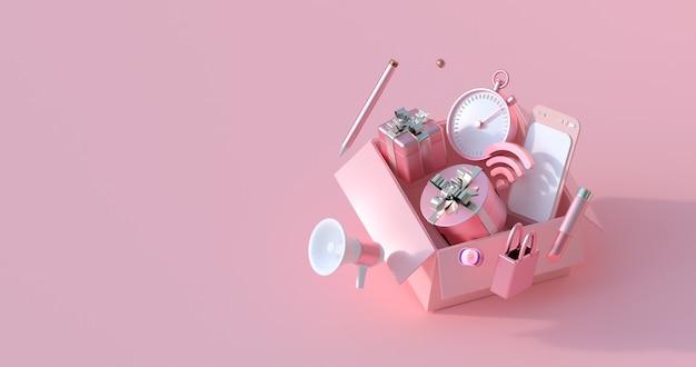 Renderowania 3d Różowego Pudełka I Prezentu. Premium Zdjęcia