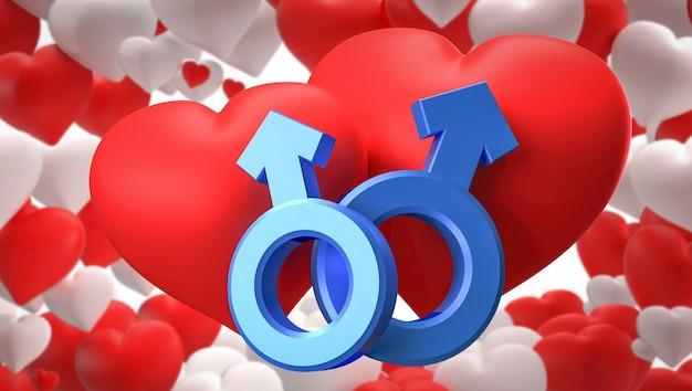 Renderowania 3d. Symbole Serca, Płci Męskiej I żeńskiej Premium Zdjęcia