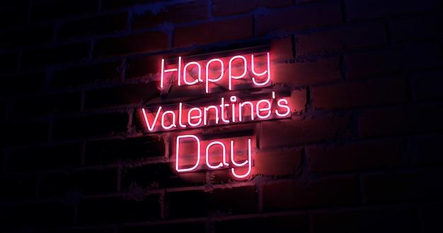 Renderowania 3d Szczęśliwy Walentynki Tekst Na Ceglanej ścianie Tekstury Lekki Neonowy Znak. Premium Zdjęcia
